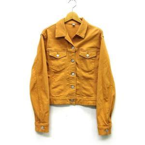 780a1c1cd70c ユニクロ UNIQLO カラー デニム ジャケット ストレッチ 長袖 オレンジ L レディース 【中.