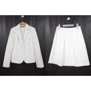 インディヴィ INDIVI スーツ ジャケット スカート ひざ丈 白 ホワイト 38 160401 ...