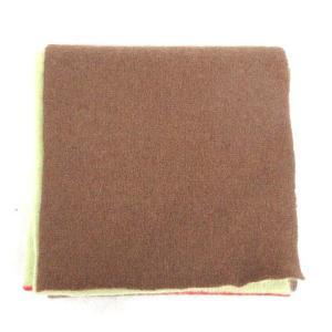 【中古】ポールスミス PAUL SMITH マフラー バイカラー ブラウン × グリーン 19121...