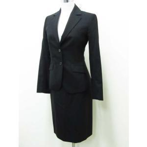 クミキョク 組曲 スーツ スカート ジャケット ウール 背抜き 2釦 1 黒 ブラック レディース【中古】【ベクトル 古着】 vectorpremium