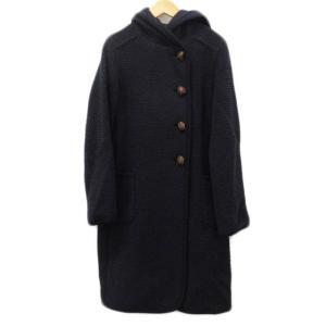 【中古】ノーリーズ Nolley's コート フード ポップコーン ウール 38 紺 ネイビー レディース 【ベクトル 古着】 vectorpremium