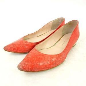 【中古】ダイアナ DIANA パンプス 型押し ローヒール  ポインテッドトゥ 23.5 ピンク 靴...