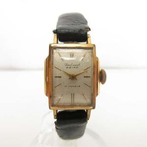 セイコー SEIKO 腕時計 手巻き 17石 アナログ スクエア ゴールド シルバー ホワイト レディース【中古】【ベクトル 古着】|vectorpremium