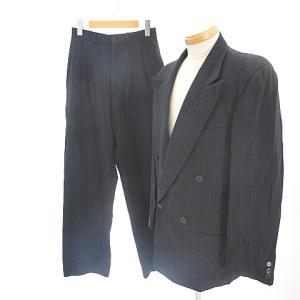 【中古】ジョルジオアルマーニ GIORGIO ARMANI スーツ セットアップ ダブル 総裏 テー...