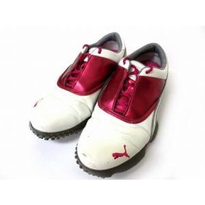 プーマ PUMA ゴルフ シューズ エナメル ホワイト ピンク 23.5 シューズ 靴 190623IS01B レディース 【中古】【ベクトル 古着】|vectorpremium