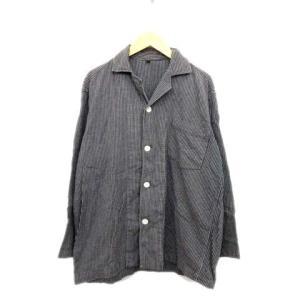 無印良品 良品計画 オープンカラー シャツ カットソー ストライプ 黒 S メンズ/N103 メンズ...