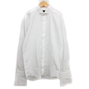 MAZZO ドレス ワイシャツ カットソー ウイングカラー カフスボタン 比翼 白 L メンズ/A1...