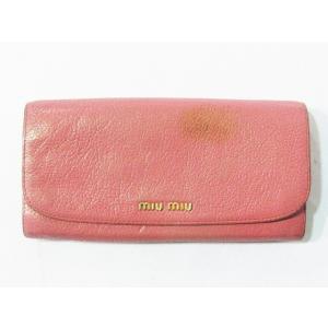 ミュウミュウ miumiu 長財布 二つ折り レザー 本革 ピンク系 レディース【中古】【ベクトル 古着】