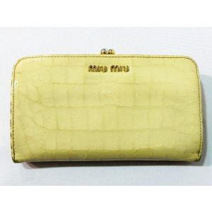 ミュウミュウ miumiu 財布 がま口 レザー 本革 クロコ型押し 二つ折り ライトベージュ系  レディース【中古】【ベクトル 古着】