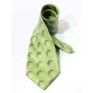 トレンチノ TRENTINO ネクタイ 総柄 絹 シルク 100% 透かし模様 黄緑 グリーン系 メンズ【中古】【ベクトル 古着】