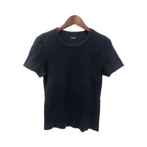 three dots スリードッツ シンプル 半袖 カットソー Tシャツ M ネイビー レディース ...