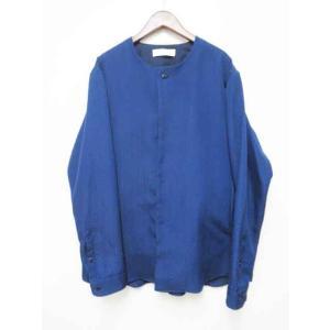 【中古】エトセンス ETHOSENS 15SS ジャガード ノーカラー シャツ ジャケット E115...