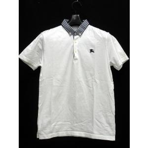 バーバリーブラックレーベル BURBERRY BLACK LABEL ポロ シャツ 半袖 ボタンダウン 白 ホワイト ネイビー 2 ワンポイント 国内正規品【中古】【ベクトル 古着】|vectorpremium
