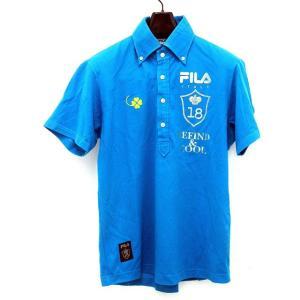 フィラ FILA GOLF ポロシャツ クローバー ゴルフ ウエア ボタンダウン スポーツ 青 ブルー サイズ L バックプリント トップス メンズ【中古】【ベクトル 古着】|vectorpremium