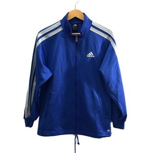 582304140b774 アディダス adidas ジャージ 上 スポーツ ウエア 上着 ジャケット ライン 刺繍 ロゴ ジップアップ リブ 青 ブルー 160  メンズ 中古  ベクトル 古着