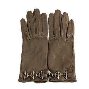7305af71ea96 エルメス HERMES レザー グローブ 手袋 革 ベージュ サイズ 6 1/2 服飾 小物 レディース 【中古】【ベクトル 古着】