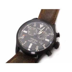 タイメックス TIMEX 腕時計 黒 ブラック レザー ウォ...