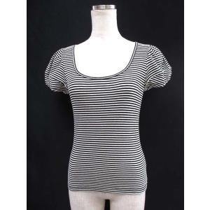 ドレスサークル DRESS CIRCLE Tシャツ F ブラック アイボリー コットン ボーダー柄 カットソー レディース【中古】【ベクトル 古着】|vectorpremium