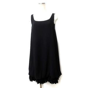 フォクシー FOXEY ワンピース 38 黒 ブラック ノースリーブ シフォン ティアード ドレス ...