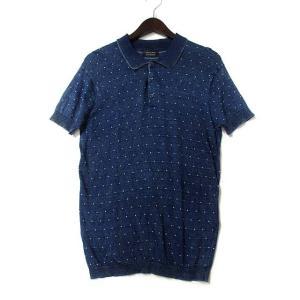 8154feb71566b ザラマン ZARA MAN ポロシャツ EUR M インディゴ コットン 半袖 ドット柄 メンズ 【.