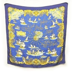 【中古】エルメス HERMES voiles de lumiere 光の帆船 カレ90 スカーフ シルク100% 青 ブルー 1130 レディース 【ベクトル 古着】 vectorpremium