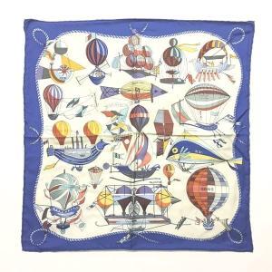 【中古】エルメス HERMES Les Folies Du Ciel 大空の狂気 スカーフ チーフ 気球 総柄 プリント 青 ブルー 系 ☆AA★ 0113 レディース 【ベクトル 古着】 vectorpremium