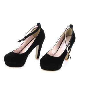 パンプス ラウンドトゥ ストラップ フェイクスエード 黒 ブラック 38 靴 シューズ レディース【中古】【ベクトル 古着】