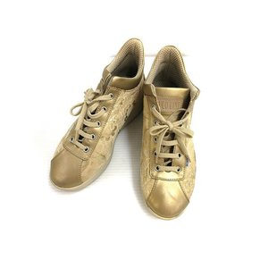 【中古】ルコライン RUCO LINE スニーカー 36 厚底 金 ゴールド ジャガード メッシュ 靴 シューズ レディース 【ベクトル 古着】|vectorpremium