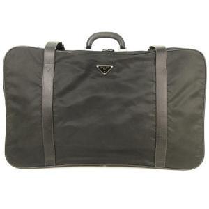 【中古】プラダ PRADA スーツケース トラベルバッグ 旅行かばん ナイロン サフィアーノレザー V102/7 黒 ブラック メンズ レディース 【ベクトル 古着】|vectorpremium