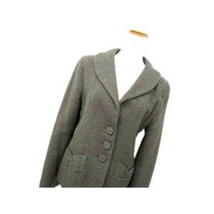 アニエスベー agnes b. ジャケットショールカラー ブレザー 3B 長袖 ウール混 40 緑 フランス製 レディース【中古】【ベクトル 古着】