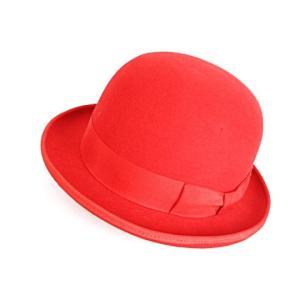5b673ab0c5c04d ウィーブトシ Weave Toshi CA4LA ボーラーハット ダービーハット 山高帽 帽子 グログランリボン フェルト L レッド 赤 メンズ/レ