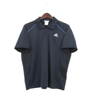アディダス adidas 国内正規 ポロシャツ Tシャツ カットソー ロゴ プリント M ネイビー /YT2 メンズ【中古】【ベクトル 古着】