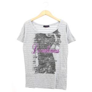 クラムジー CLUMZY Tシャツ カットソー ストーン プリン ボーター 半袖 F グレー /YT...