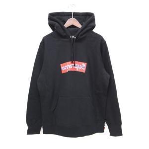 未使用品 半タグ付 シュプリーム SUPREME コムデギャルソンシャツ コラボ パーカー ペーパーアート ボックスロゴ Sサイズ 黒 ブラック