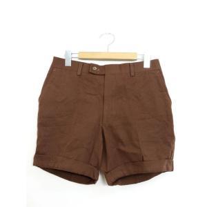 ショートパンツ パンツ ボタン 無地 ロールアップ シンプル 厚手 ブラウン 茶 /YT13 レディ...