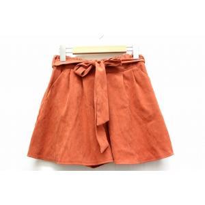 キュロット スカート ショートパンツ ミニ ボトムス ウエストゴム リボン 無地 シンプル M オレ...