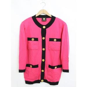 ビッキー VICKY カーディガン 羽織 バイカラー 肩パット ウール 長袖 9 ピンク /YT13...