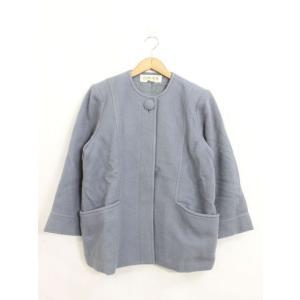 CLAIR ROL ノーカラーコート ジャケット 肩パット シンプル ミディアム丈 長袖 ブルー 青...