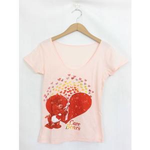 ケアベア Care Bears Tシャツ カットソー プリント ラウンドネック 半袖 M ピンク /...
