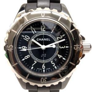 【中古】シャネル CHANEL J12 33mm 腕時計 ウォッチ デイト セラミック マット 黒 ...