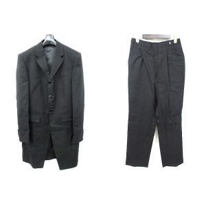 Avica uomo スーツ タキシード セットアップ パンツ ベスト 3点セット 3B ストライプ ウール 黒 S ※OO720 160701  メンズ 【ベクトル 古着】【中古】