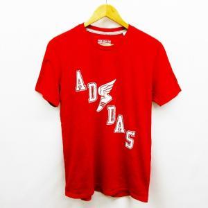 アディダス adidas THE GO-TO PERFORMANCE TEE climalite Tシャツ カットソー 半袖 丸首 プリント ロゴ シューズ M 赤 レッド ● 12 【中古】【ベクトル 古着】|vectorpremium