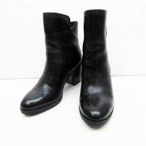 【中古】STACCATO スタッカート 裏ボア サイドジップ レザー ブーツ 23cm 黒 ブラック...