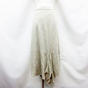 【中古】ロペ ROPE 麻 リネン 膝丈 スリット スカート 38 Mサイズ相当 ベージュ ●32 レディース 【ベクトル 古着】