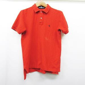 ラルフローレン RALPH LAUREN ナチュラル コットン ロゴ刺繍 半袖ポロシャツS赤レッド ...