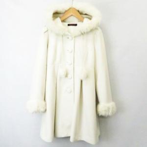【中古】ブラウニービー Brownie bee Aラインコート フード 袖 ファー装飾 オフホワイト  レディース 【ベクトル 古着】 vectorpremium