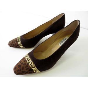 VALBRENTA パンプス スエード アニマル柄 35.5 ダークブラウン 茶色 ゴールド金具 23.0cm くつ 靴 シューズ レディース【中古】【ベクトル 古着】