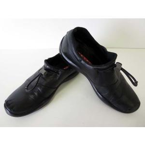 プラダスポーツ PRADA SPORT スリッポン ローファー シューズ 革靴 レザー 6.5 黒 ブラック くつ 靴 メンズ|vectorpremium