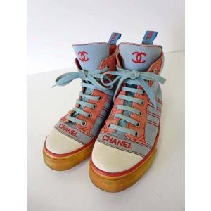 シャネル CHANEL スニーカー シューズ ロゴ ココマーク 刺繍 ハイカット 35 水色 サックス 赤 朱色 白 22.0cm 小さいサイズ くつ 靴 レディース|vectorpremium
