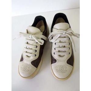 シャネル CHANEL スニーカー シューズ 靴 ココマーク 本革 レザー 22.0 ダークブラウン こげ茶色 アイボリー くつ 小さいサイズ レディース|vectorpremium